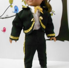 Mariachi charro suit traje black gabardine with gold trim for American Girl doll 18 in handmade custom order Boy Doll, Girl Dolls, Charro Suit, Boys Suits, Ready To Play, Line Jackets, Day Dresses, American Girl, Gold
