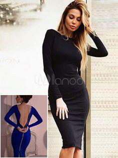 Sexy Etuikleid Lange Ärmel Reißverschluss Partykleid schwarz