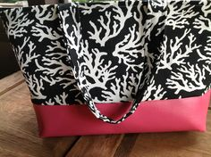 Large Beach Bag Black Coral and Hot Pink Vinyl. $50.00, via Etsy.