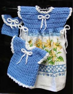 If your kitchen seems to missing something, you might need the Oven Door Dress, Potholder and Fridgie set. This three-piece crochet set decorates your oven and refrigerator with just the right amount of cuteness. It is sure to brighten any kitchen and also serve a functional purpose. The oven door dress attaches to a coordinating kitchen towel so you can easily attach it to the handle of your oven door. Make a matching dress for a crochet potholder and a mini-dress for a crochet fridge mag