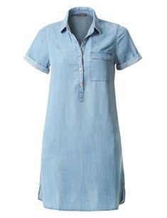 Womens Tencel Short Sleeve Half Button Denim Dress with Pockets Button Down Denim Dress, Short Sleeve Denim Dress, Dress Codes, Summer Outfits, Summer Clothes, Shirt Dress, Clothes For Women, Pockets, How To Wear