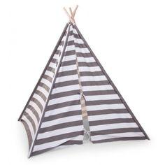 Kinder Tipi-Zelt \'Streifen\' dunkelgrau/weiß H143cm