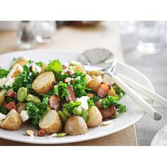 Warm potato and broad bean salad with bacon and feta recipe - By New Zealand Woman's Weekly, This salad is warm but wonderfully fresh, combining lovely spring ingredients to create a healthy meal for lunch or dinner.