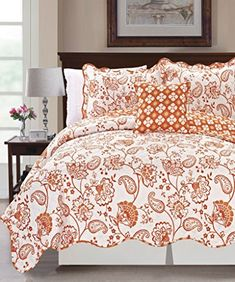4 Piece Reversible Quilted Coverlet Set, Queen, Orange