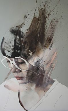 """Il lago è fermo"" - Jessica Rimondi, acrylic and oil on wood, 2015 {figurative #expressionist art female head eyeglasses woman face portrait abstraction #grunge painting #noveltechnique} jessicarimondi.wix.com"