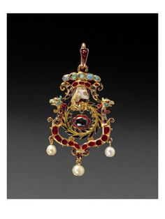 The Aberdeen Jewel; Jewelled and Enamelled Gold Pendant with Pearls a Lock of Hair of Mary Queen of Scots