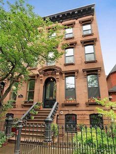 New York brownstone exterior Brownstone Homes, Brooklyn Brownstone, Brooklyn New York, Townhouse, Different House Styles, Brooklyn Neighborhoods, Brick Building, Victorian Homes, My Dream Home
