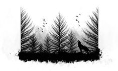 Wolf Head And Forest Tree Tattoo On Back Shoulder #bigtattoosonback