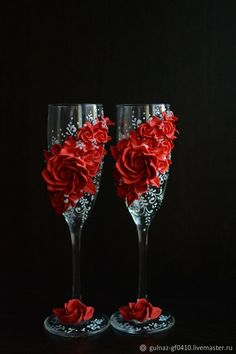 Wedding wine glasses – shop online on Livemaster with shipping Wedding Wine Glasses, Diy Wine Glasses, Decorated Wine Glasses, Glasses Shop, Wedding Champagne Flutes, Decorated Bottles, Champagne Glasses, Wine Glass Decals, Beauty And The Beast Party