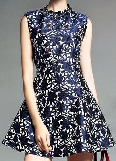 Beaded Floral Jacquard Dress