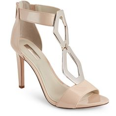 Bcbgeneration Nude Blush Cayce Embellished Open Toe High Heel Sandals ($40) ❤ liked on Polyvore featuring shoes, sandals, beige, heeled sandals, nude shoes, open toe sandals, zipper sandals and bcbgeneration shoes