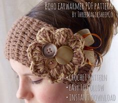 Crochet headband pattern flower ear warmers 60 Ideas for 2019 Crochet Flower Headbands, Boho Headband, Crochet Flowers, Headband Crafts, Loom Flowers, Black Headband, Crochet Crafts, Crochet Projects, Knit Crochet