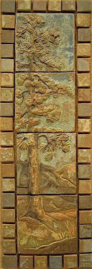 Reproduction California art tiles, for fireplace.  Similar to Batchelder.