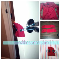 DIY Door Stopper from the cuff of a men's shirt and elastic hair ties