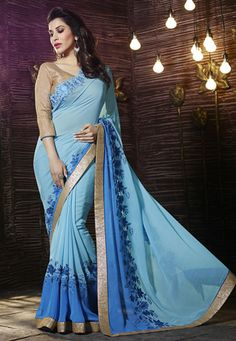 Light Blue Faux Georgette Saree with Blouse