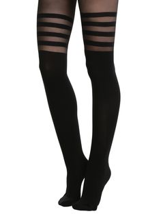 """Black faux thigh high tights with black stripe detailing.<br><ul><li style=""""list-style-position: outside !important; list-style-type: disc !important;"""">80% nylon; 20% spandex</li><li style=""""list-style-position: outside !important; list-style-type: disc !important;"""">Hand wash cold; drip dry</li><li style=""""list-style-position: outside !important; list-style-type: disc !important;"""">Imported</..."""