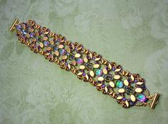 Beading Kit and Tutorial - Golden Bridge bracelet -Paros, Baroque, Stormduo, Swarovski bicones, Supe Beaded Jewelry, Beaded Bracelets, Jewellery, Jewelry Patterns, Jewelry Ideas, Aztec Gold, Super Duo Beads, Bead Kits, Beading