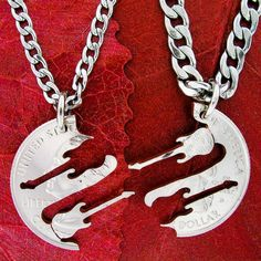Guitar Necklace Friendship jewelry Musical hand cut by NameCoins, $39.99