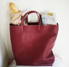 Barcelona red leather tote bag. Shopper tote by TheSacBarcelona ...