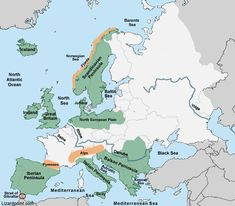 clickable map quiz of the peninsulas, islands, mountains and water features in Europe Map Quiz, Geography Quiz, World Map Wallpaper, School Images, North Sea, Baltic Sea, Central Europe, Social Studies, Physics