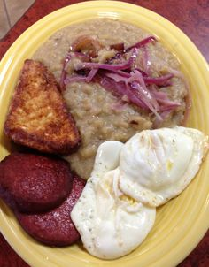 Typical Dominican breakfast, yes breakfast.  Or should I say whenever you want plate...