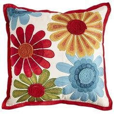 Throw your sofa a garden party with our Embroidered Flowers Pillow