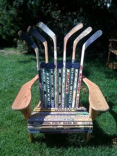 Hockey hockey.  Great idea for the Hockey lover.  Also you can do this with wood water ski's - it takes 4 ski's and they are getting hard to find.  Enjoy!!!