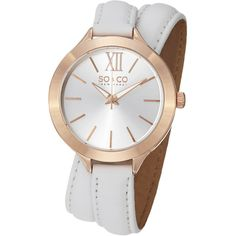 So&co New York Women's Quartz SoHo Brown Leather Wraparound Band Watch ($38) ❤ liked on Polyvore featuring jewelry, watches, white, analog watches, leather watches, brown leather watches, leather jewelry and brown watches