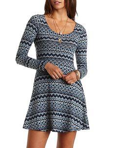 Tribal Print Sweater Knit Skater Dress #charlotterusse #charlottelook