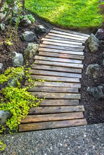re-purposed pallets into a walk way