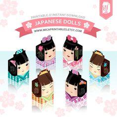 Japanese Dolls Kokeshi Milk Carton Design by MicaPrintables #packaging #etsy #printable #download #gift #ideas #kawaii #cute