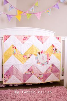 my fabric relish: Reversible Chevron Baby Quilt with Pattern