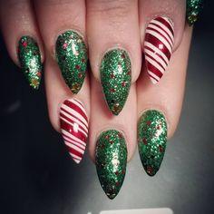 "2 Likes, 1 Comments - Jannet Nguyen (@joco4eva) on Instagram: ""Christmas tree and candy cane! #christmasnails #stilettonails #naildesign #nailart #nailsbyjojo…"""