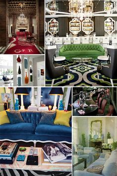 Clockwise from top left: Ian Schraeger's Gramercy Park Hotel, Kelly Wearstler's The Viceroy in Santa Monica, Beverly Hills Hotel, Billy Baldwin (via The Peak of Chic), via DominoMag, Jonathan Adler's Parker Palm Springs.