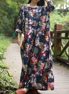 Algodão Floral Manga 3/4 Longo Vintage Vestidos de