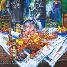 Louisiana Crawfish Boil, Print or Stretched Canvas, New Orleans Art, Seafood, Zatarains, Dixie Beer, Louisiana Art by NewOrleans Artist