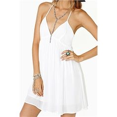 V-neck White Sun Dress | pariscoming