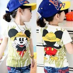 2014 spring summer new baby boys girls short-sleeved Mickey shaped cotton Tshirt ****************************************  חולצת מיקי מאוס לילדים החל מ 14 שקל כולל משלוח חינם. 100% כותנה