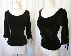 Chic 1950's Black Velvet Blouse by McArthur LTD by wearitagain, $125.00