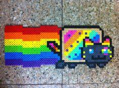 Nyan Cat perler beads by BirdseednerdPerlers