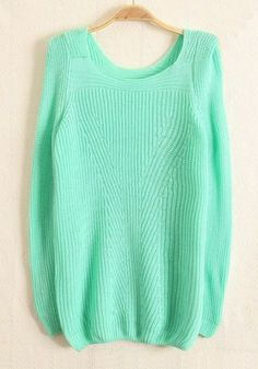 Green Plain Square Neck Wool Blend Sweater