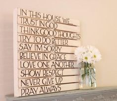 Love Of Family Home: DIY Pallet Wall Art. (Not sure about the pallet, but I love the words! Would make a good gift? Art Mural Palette, Palette Diy, Do It Yourself Design, Do It Yourself Inspiration, Daily Inspiration, Diy Pallet Wall, Pallet Art, Pallet Signs, Pallet Quotes