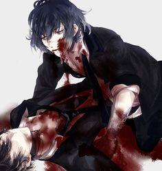 Diabolik Lovers (More Blood)- Azusa and Ruki #Anime #Game #Otome Bloody anime boys Guro Gore