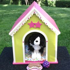 Dog house pink green for 18 inch American girl by BedsandThreads, $75.00