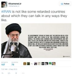 """Iran's Supreme Leader Ayatollah Khamenei Calls American Government """"Retarded""""… ------------------------------------------------ His tweet has been deleted--but really is he that far off?  PC crowd start attacking.....right......about.............now!"""
