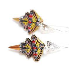 Geometric Beadwork Earring Design