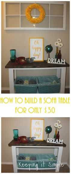 This post contains affiliate links. A couple weeks ago I decided that it was time to change up some decor in my loft area. I starte. Diy Entryway Table, Diy Sofa Table, Sofa Tables, Hall Tables, Entry Tables, Console Tables, Diy Furniture Sofa, Simple Furniture, Furniture Refinishing