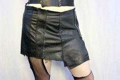 Recycled Black Leather Mini Skirt - Paneled Zipper Asymmetrical - Punk Goth Warrior Steampunk Kilt. $42.00, via Etsy.