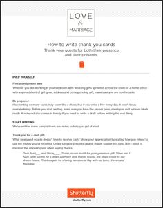 How to write your wedding 'Thank-you cards'. Click-through to download! | Shutterfly.com