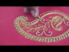 How to do a beautiful mango design using hand embroidery - YouTube